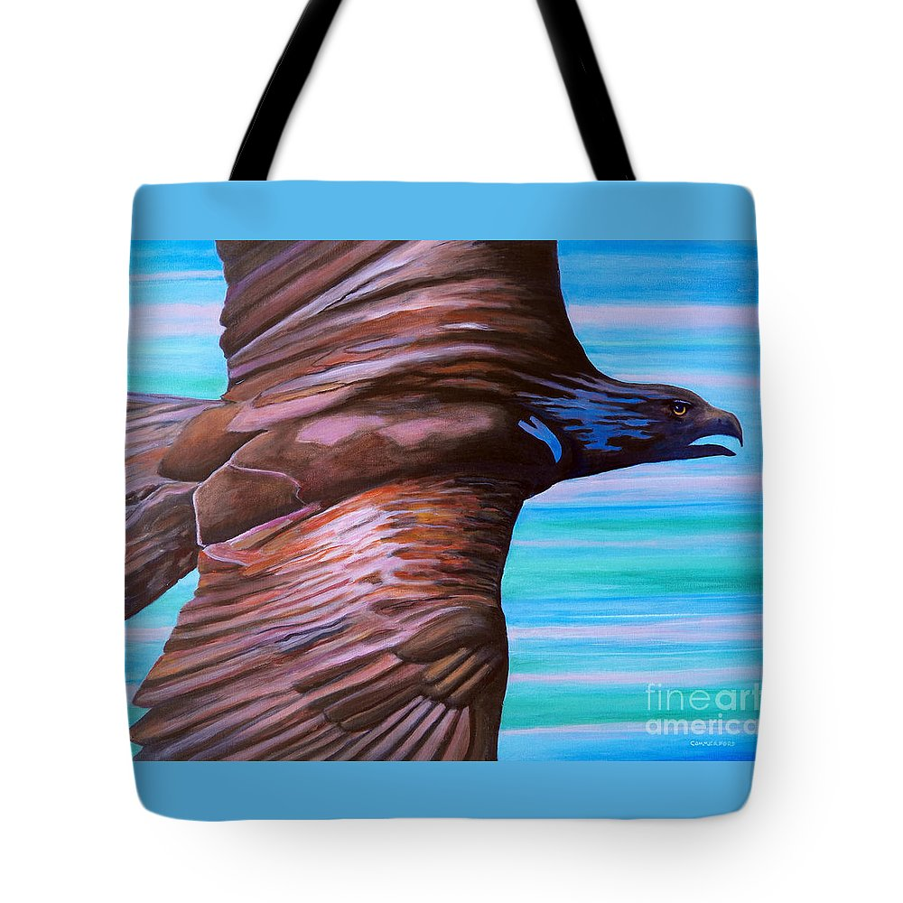 Eagle Tote Bag featuring the painting Fly Like An Eagle by Brian Commerford