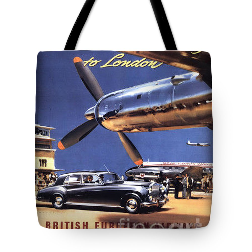 Vintage Tote Bag featuring the painting Fly The Rolls Royce Way To London by Nostalgic Prints