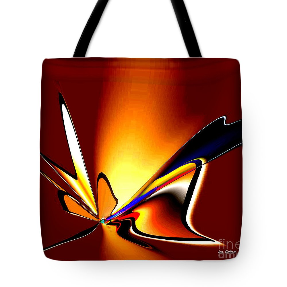 Abstract Tote Bag featuring the digital art Fly With Me by Iris Gelbart