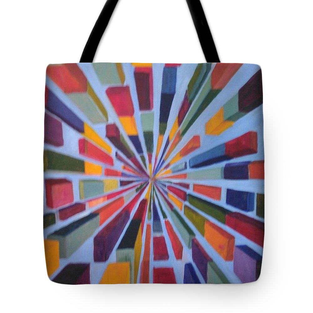 Non Representational Art Tote Bag featuring the painting Flying box by Andrew Johnson