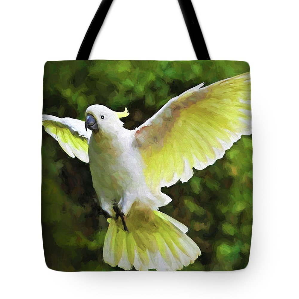 Cockatoo Tote Bag featuring the mixed media Flying Cockatoo by Garland Johnson