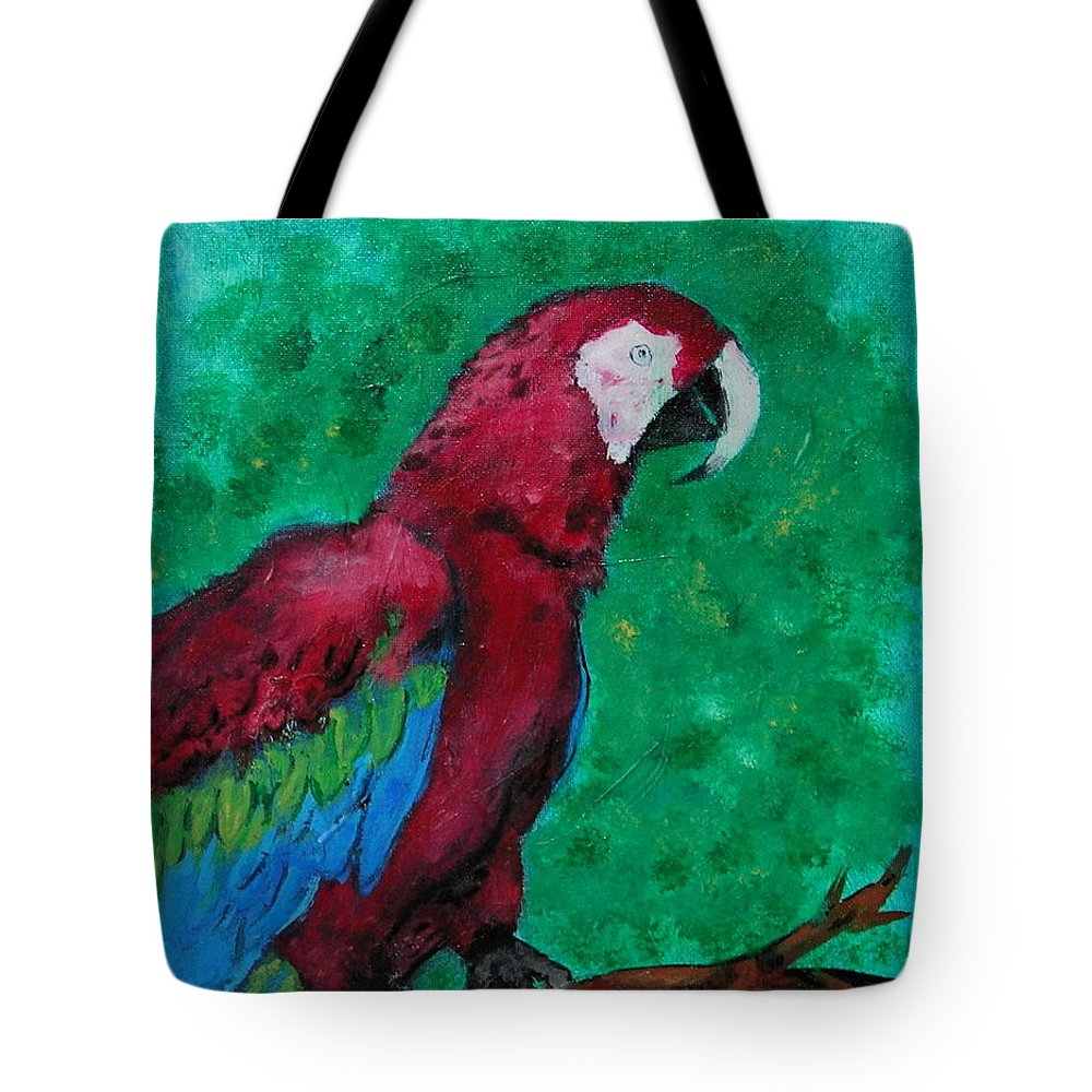 Parrot Tote Bag featuring the painting Flying Colors by Cori Solomon
