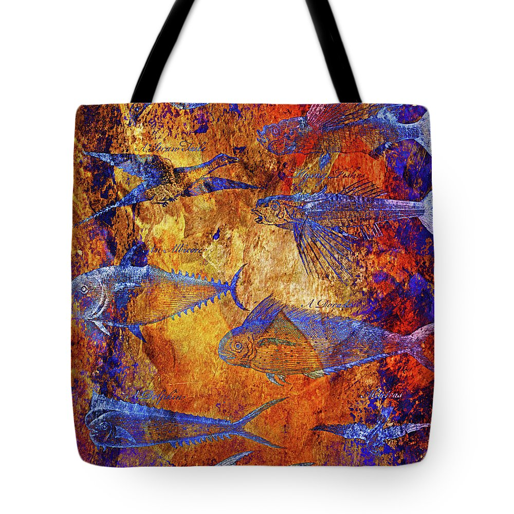 Fish Tote Bag featuring the mixed media Flying Fish On Orange by Skint Fish