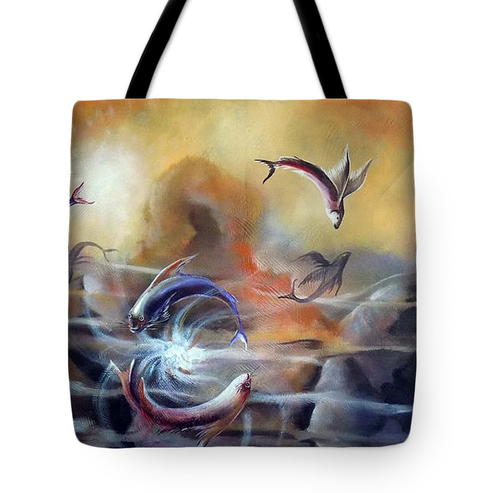 Nature Tote Bag featuring the painting Flying Fishes by Arun Sivaprasad