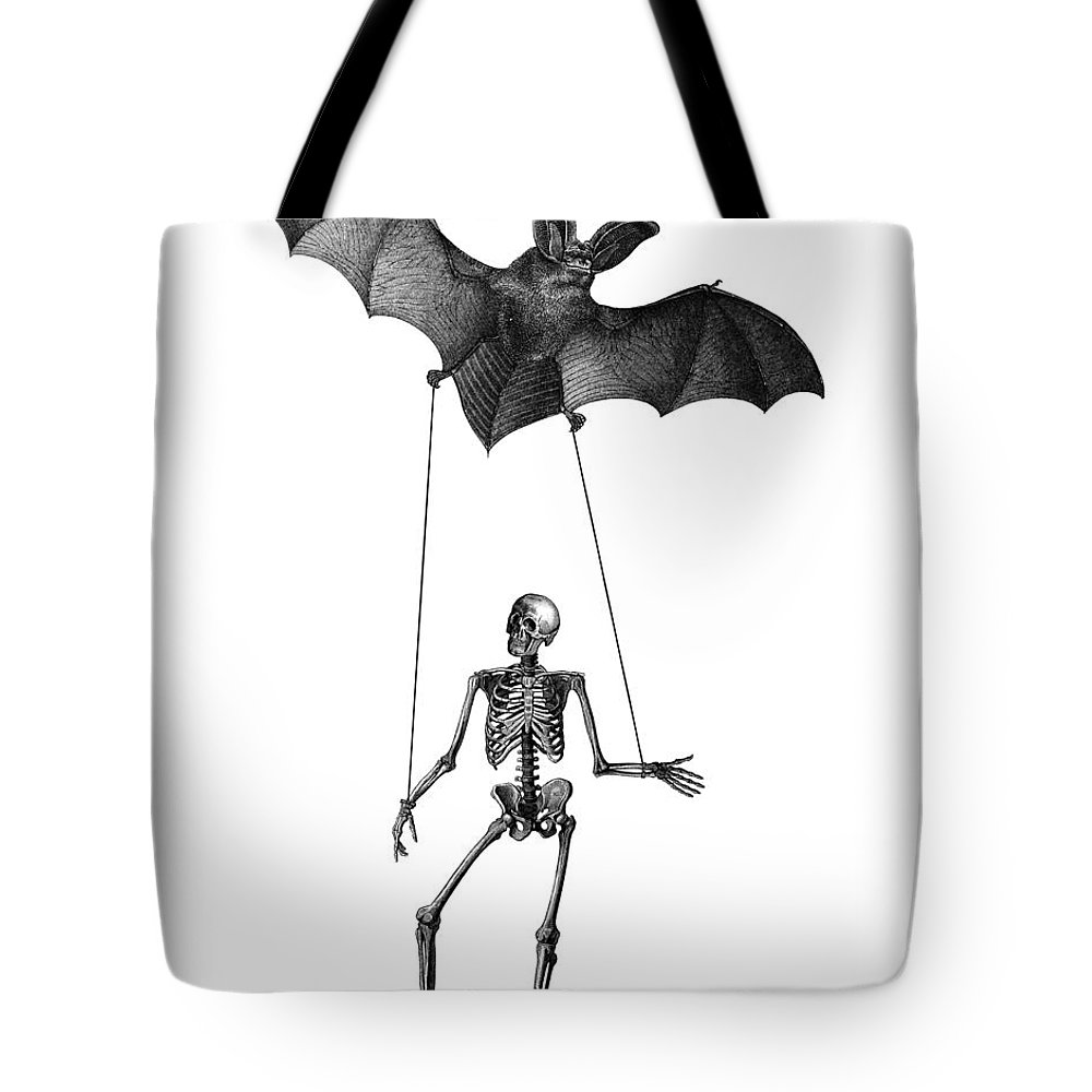 Skeleton Tote Bag featuring the digital art Flying Bat With Skeleton On A String by Madame Memento