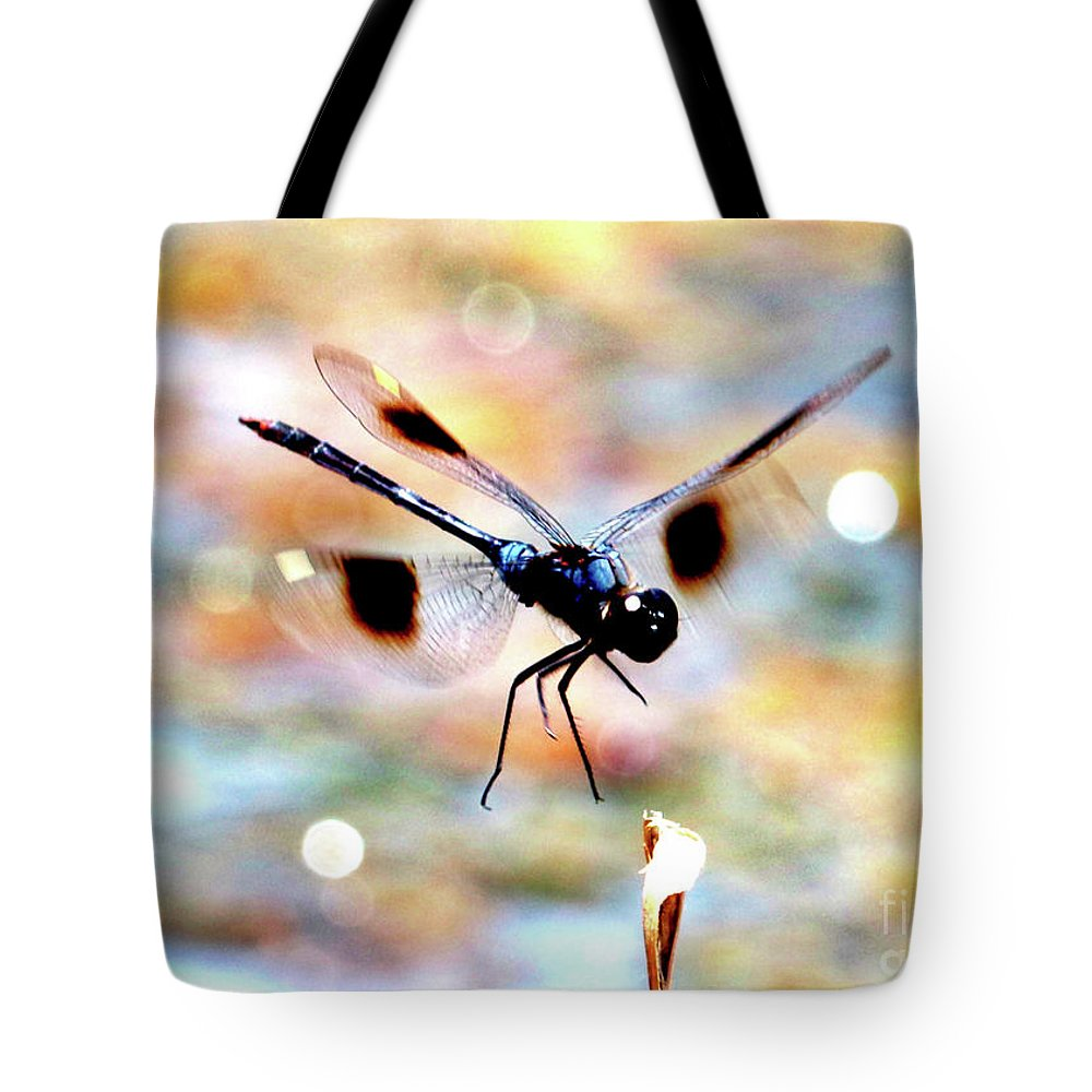 Dragonfly Tote Bag featuring the photograph Flying Sparkler by Carol Groenen