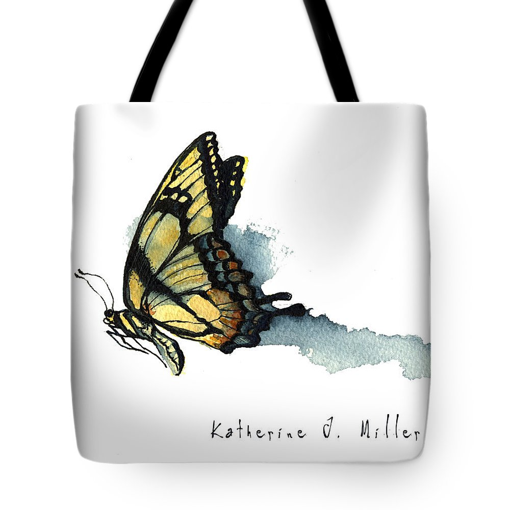 Butterflies Tote Bag featuring the painting Flying Tiger by Katherine Miller