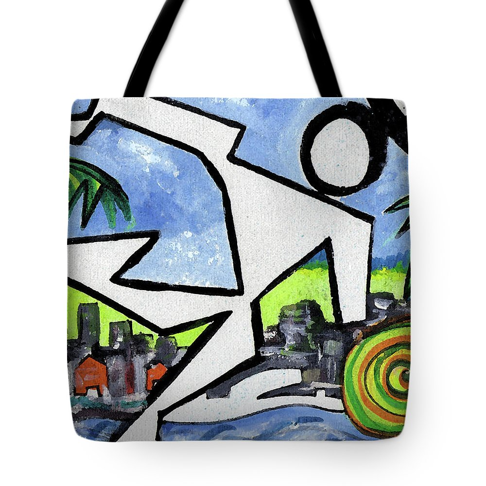Abstract Tote Bag featuring the painting Flyingboyeee by Jorge Delara