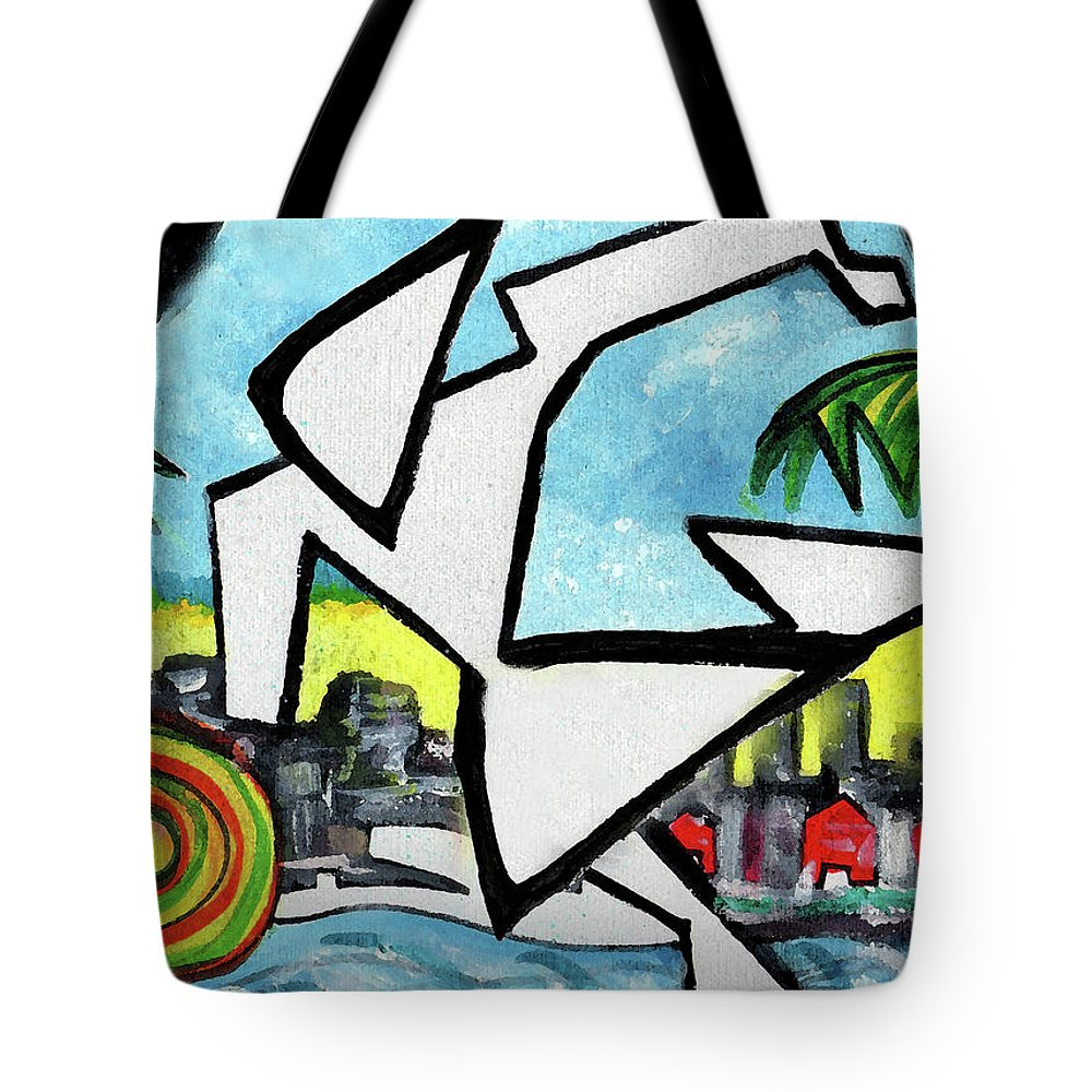 Abstract Tote Bag featuring the painting FlyingGurleee by Jorge Delara