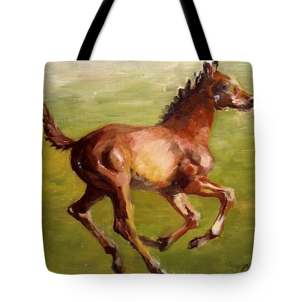 Horses Tote Bag featuring the painting Foalin' Around by Joan Ashley