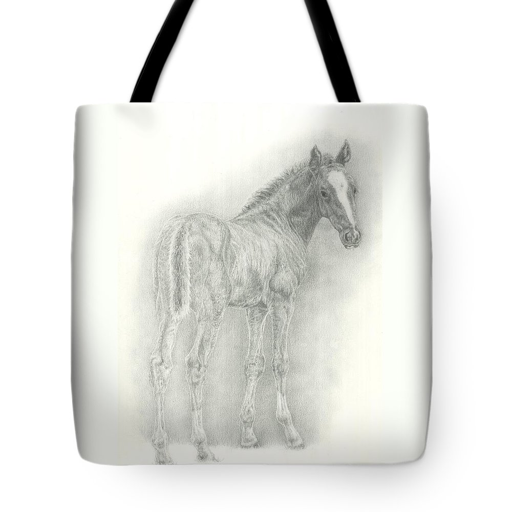Foal Tote Bag featuring the drawing Spring Foal by Jennifer Nilsson