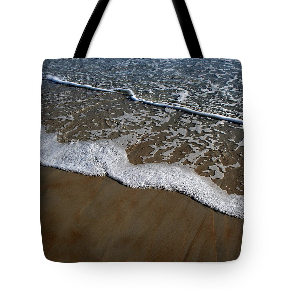 Beach Sand Wave Waves Foam Foamy White Sunny Clear Water Ocean Tote Bag featuring the photograph Foamy Water by Andrei Shliakhau