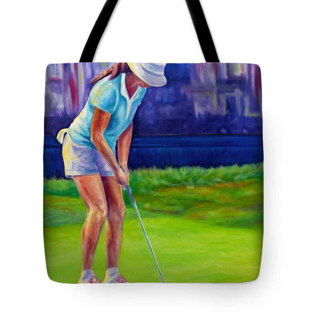 Woman Tote Bag featuring the painting Focus by Shannon Grissom