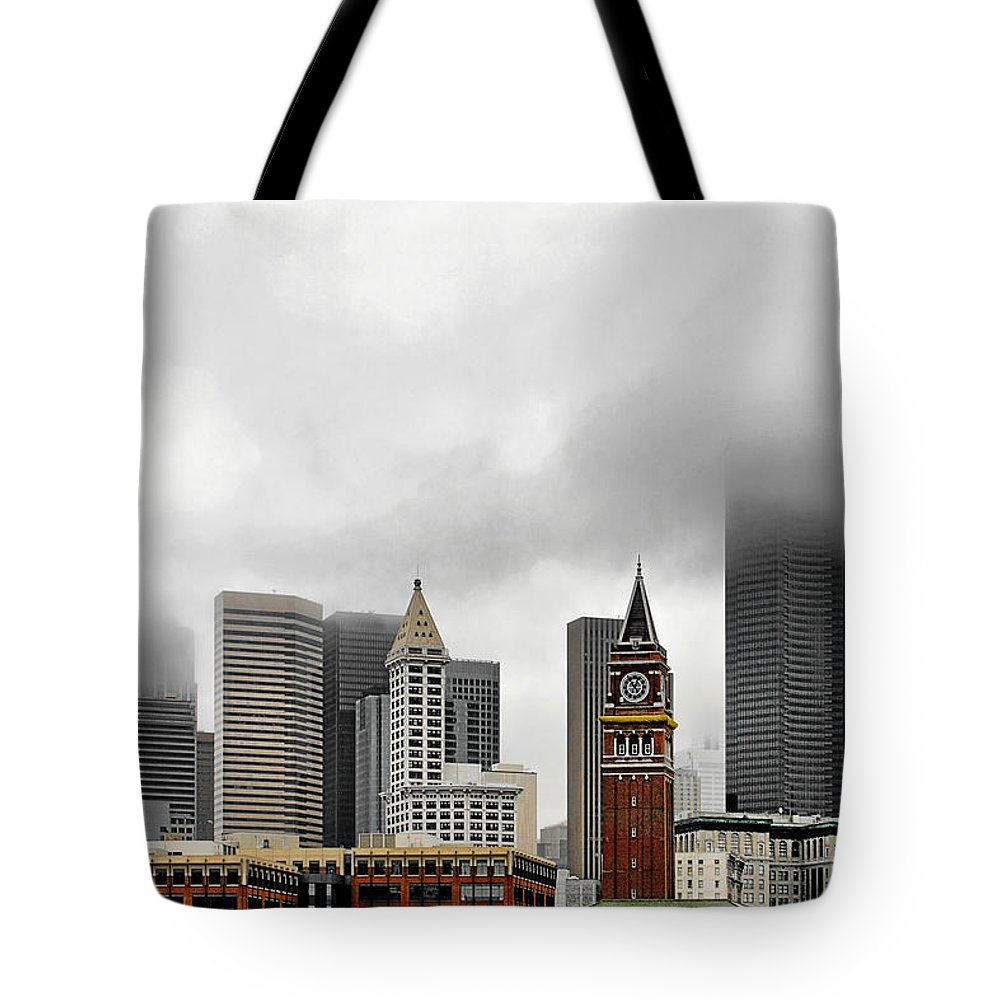 Seattle Tote Bag featuring the photograph Fog Accents Of Seattle Wa by Christine Till