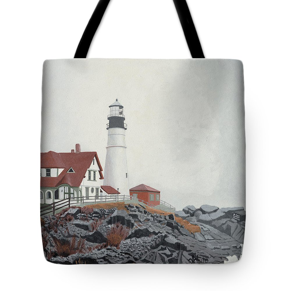 Lighthouse Tote Bag featuring the painting Fog Approaching Portland Head Light by Dominic White