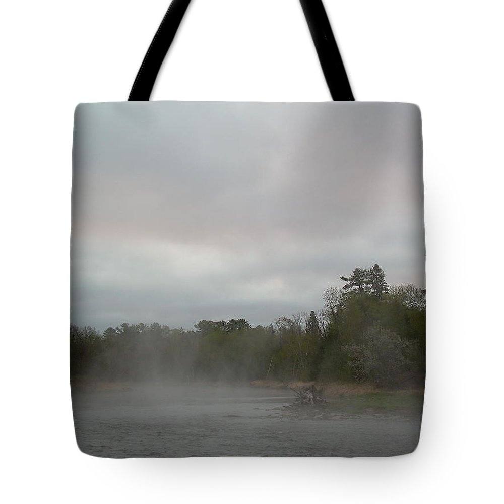 Mississippi River Tote Bag featuring the photograph Fog Floating On Mississippi River by Kent Lorentzen