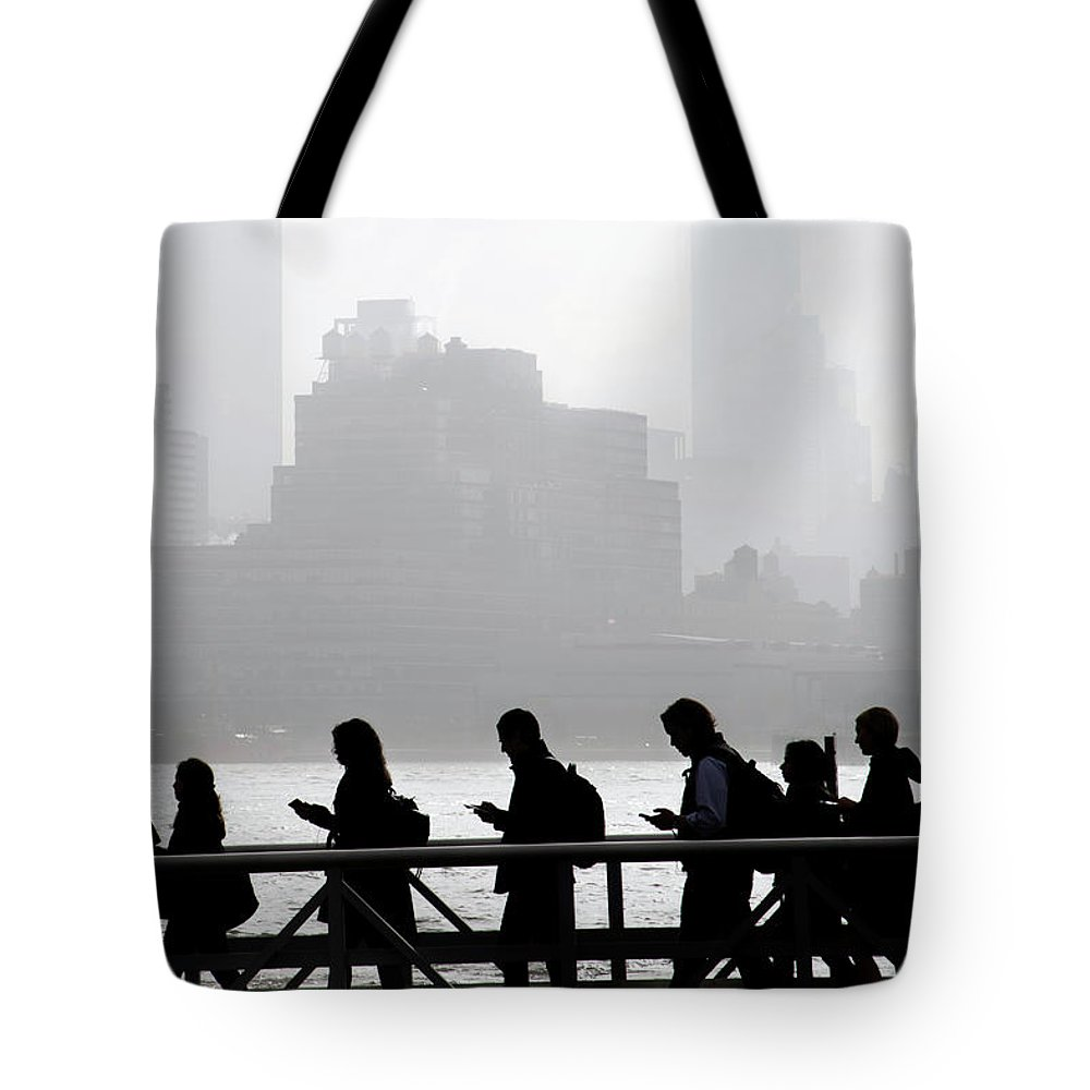 Boat Tote Bag featuring the pyrography Fog On The Hudson by Joe Epstein