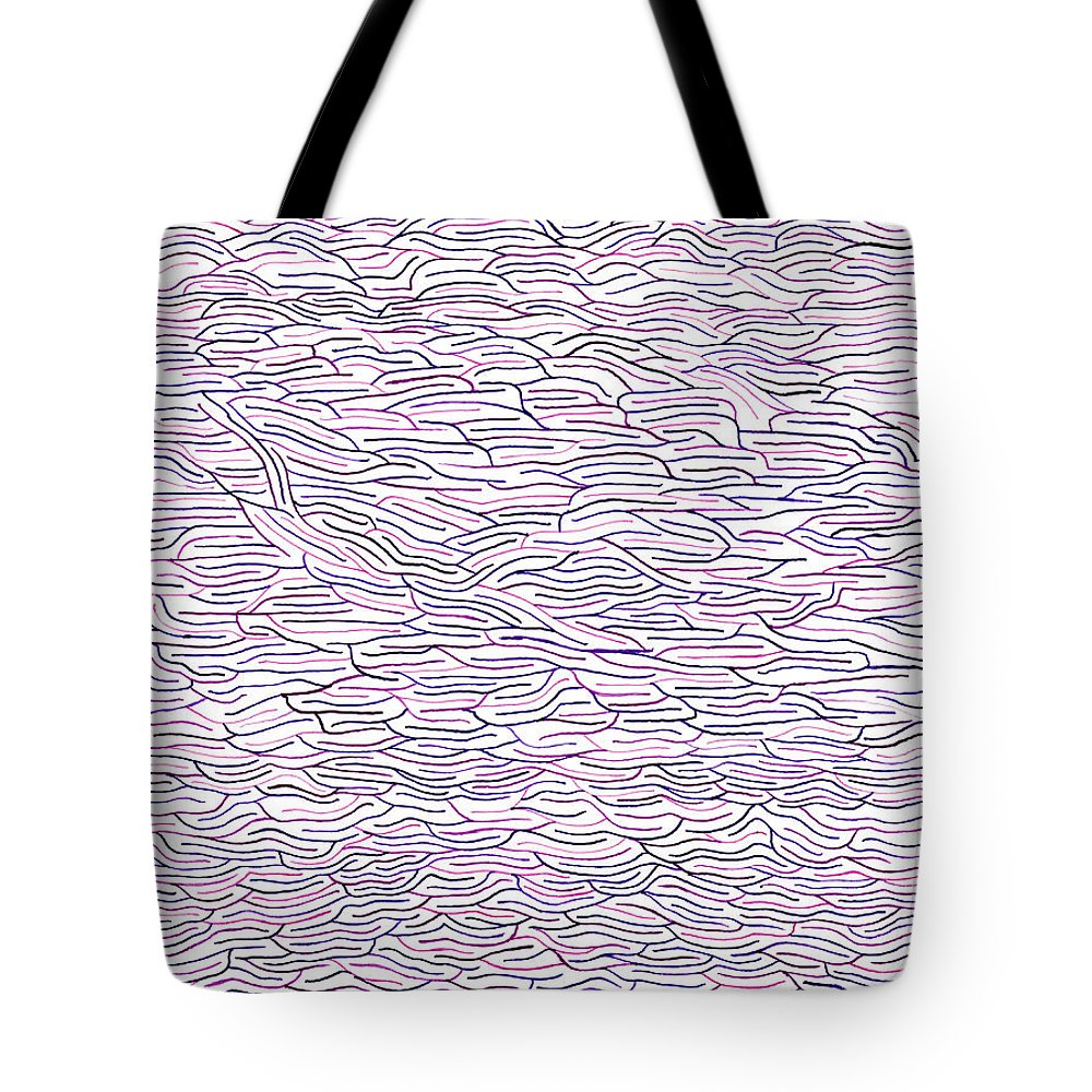 Mazes Tote Bag featuring the drawing Fog by Steven Natanson