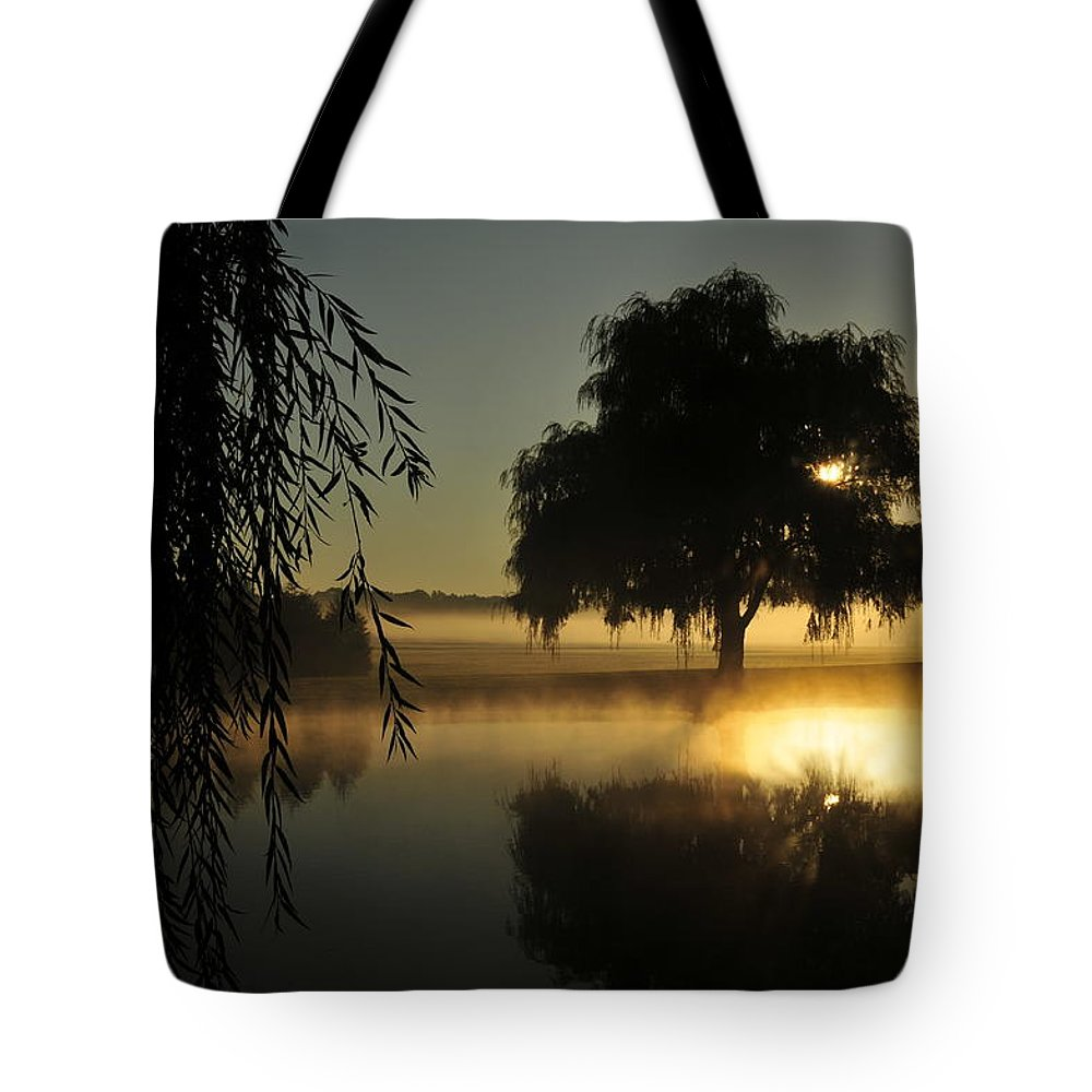 Morning Sun Tote Bag featuring the photograph Fog Water And Sun by David Arment