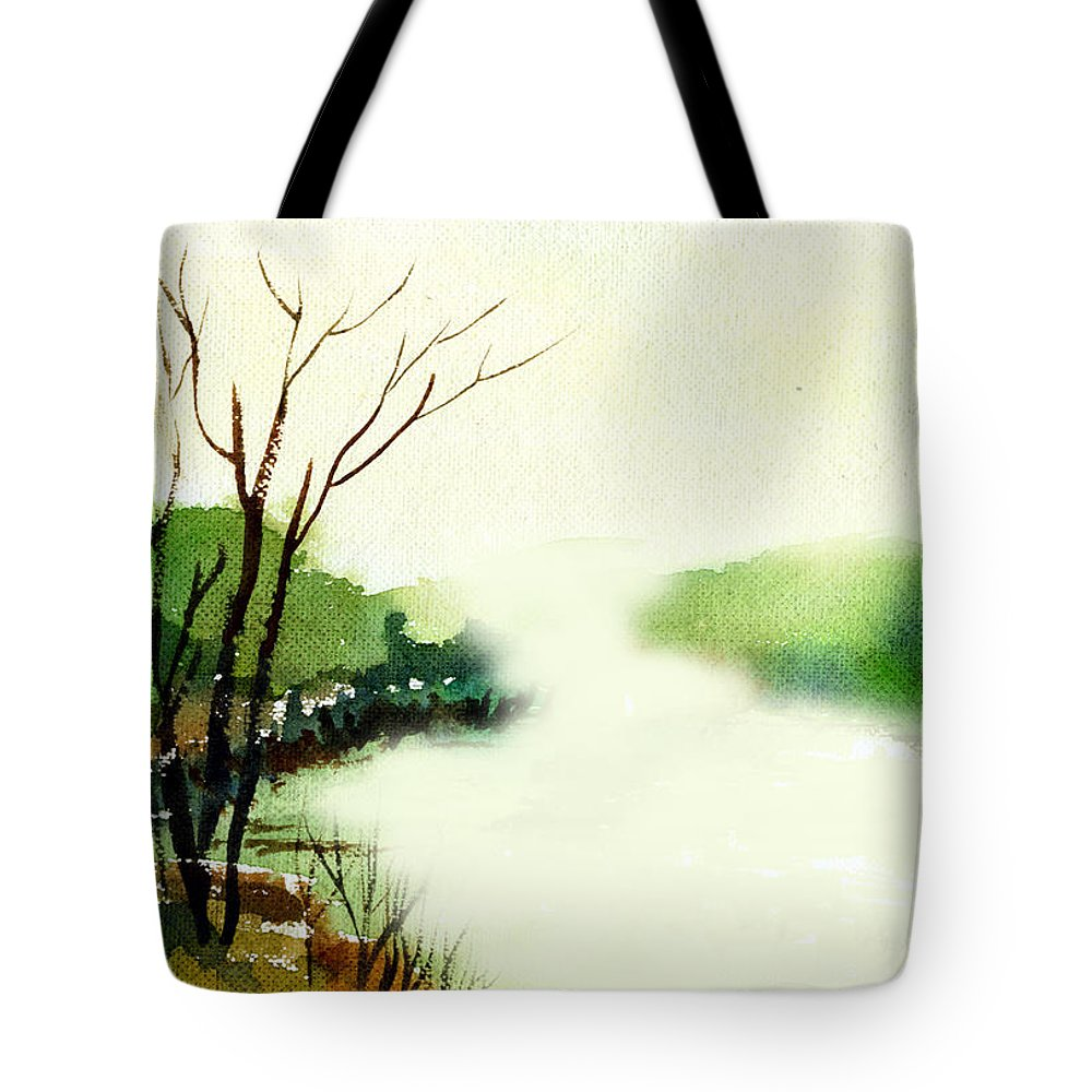 Water Color Tote Bag featuring the painting Fog1 by Anil Nene