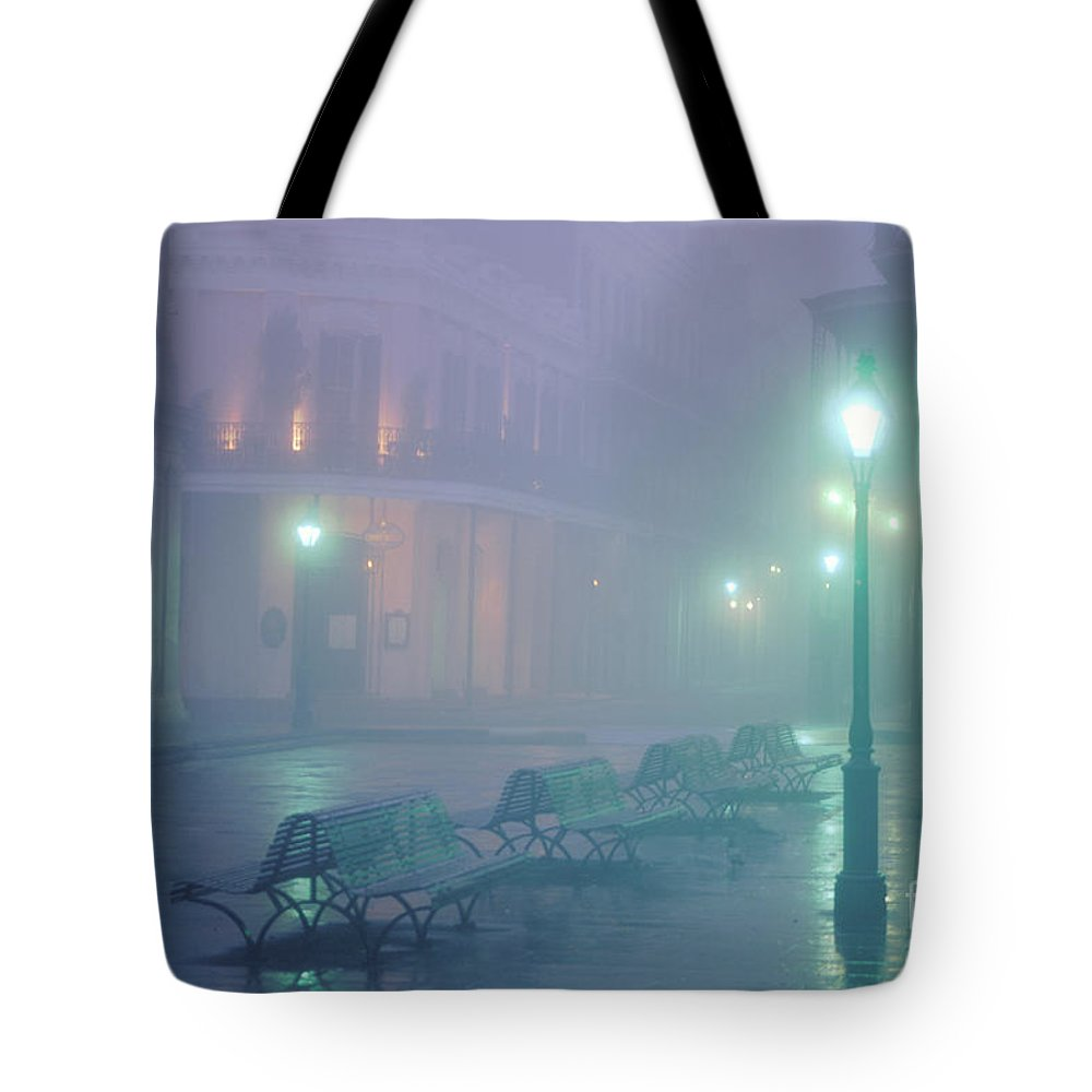 New Orleans Photography Tote Bag featuring the photograph Foggy French Quarter by Alex Demyan