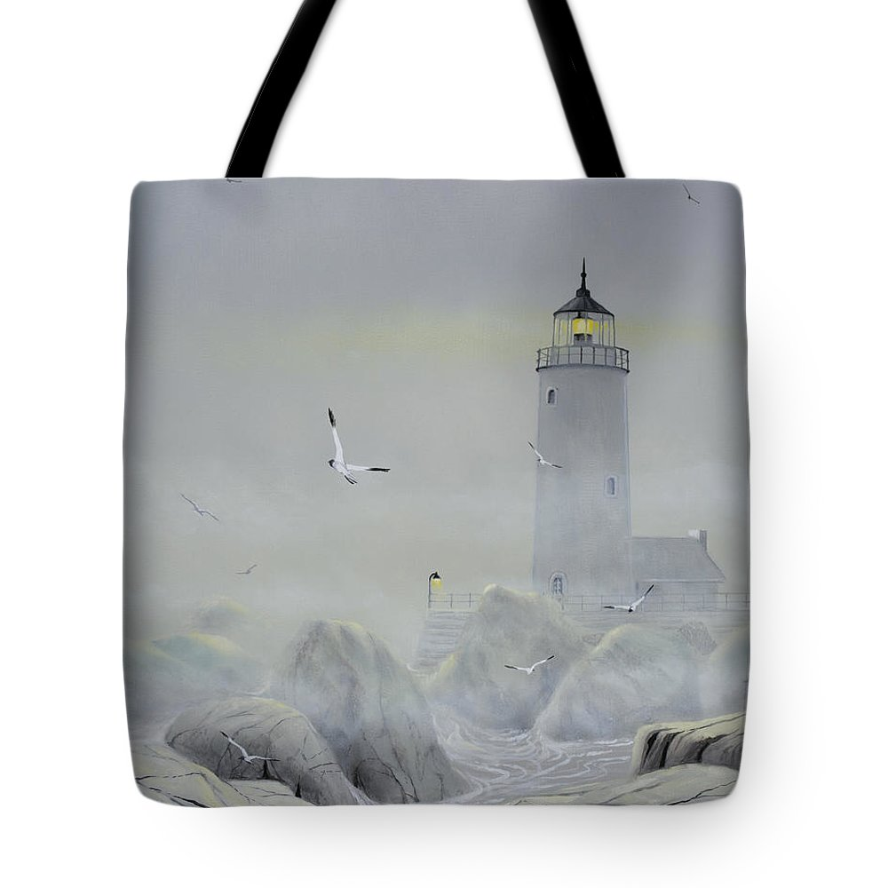 Seascape Tote Bag featuring the painting Foggy Light by Don Griffiths