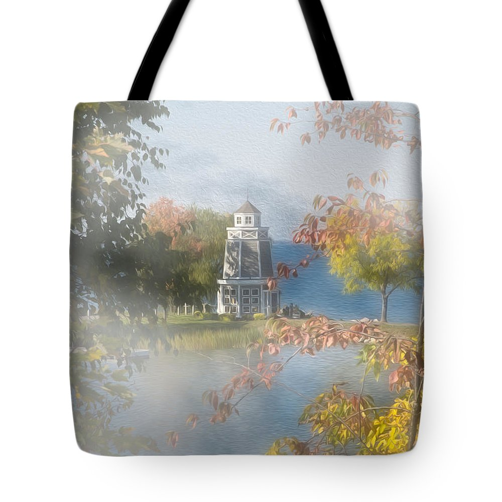Architecture Tote Bag featuring the photograph Foggy Morning At The Lake by John M Bailey