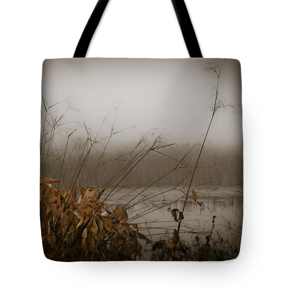 Foggy Morning Tote Bag featuring the photograph Foggy Morning Marsh by Carolyn Marshall