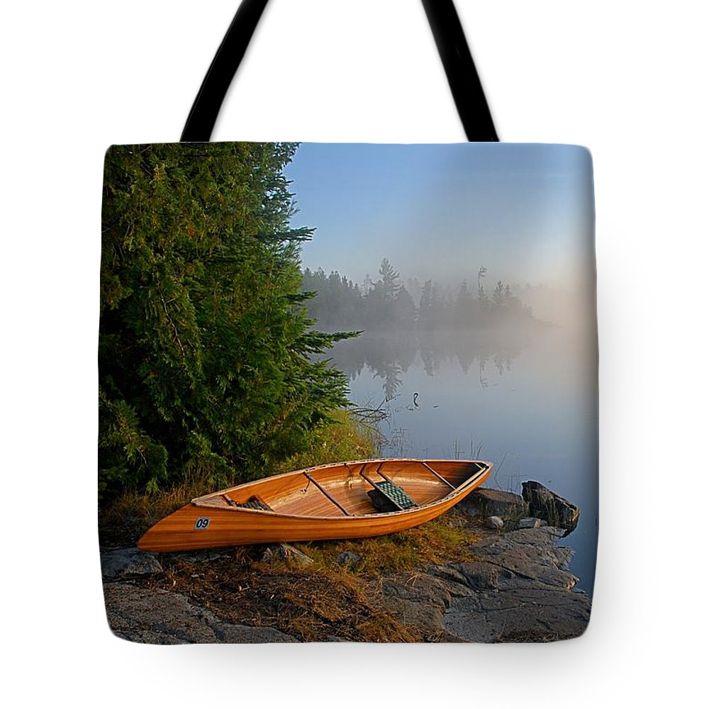 Minnesota Tote Bag featuring the photograph Foggy Morning On Spice Lake by Larry Ricker