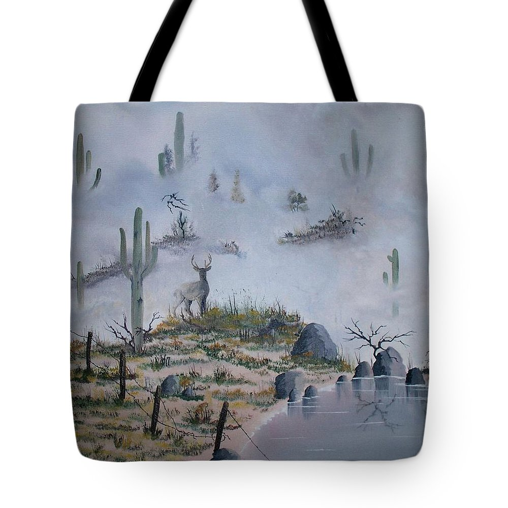 Animals Tote Bag featuring the painting Foggy Morning by Patrick Trotter