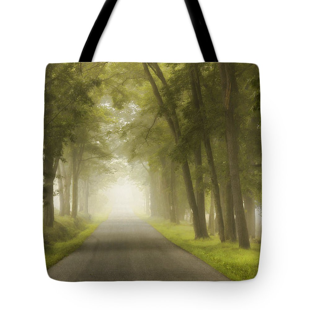 Country Road Tote Bag featuring the photograph Foggy Morning by Rusty Glessner