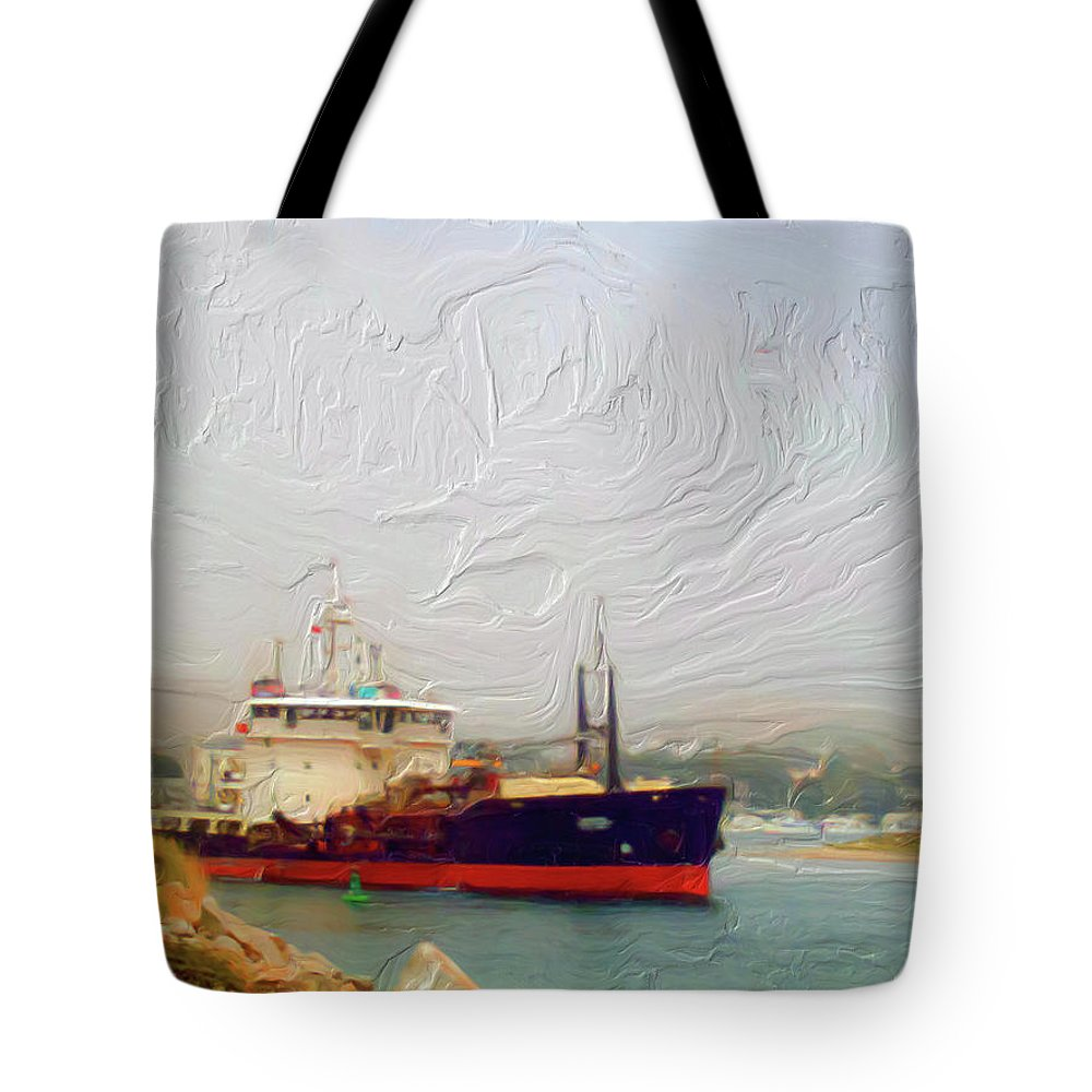 Foggy Morro Bay Tote Bag featuring the painting Foggy Morro Bay by Methune Hively