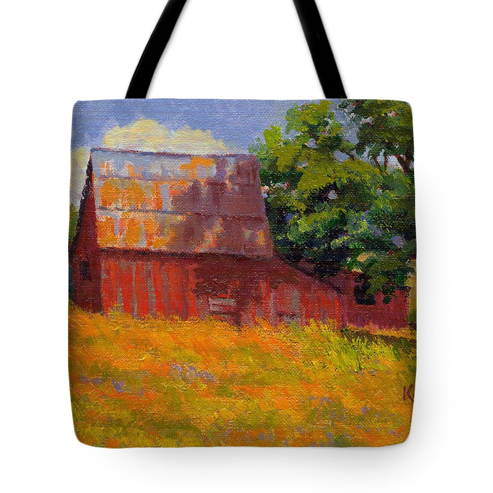 Landscape Tote Bag featuring the painting Foglesong Barn by Keith Burgess