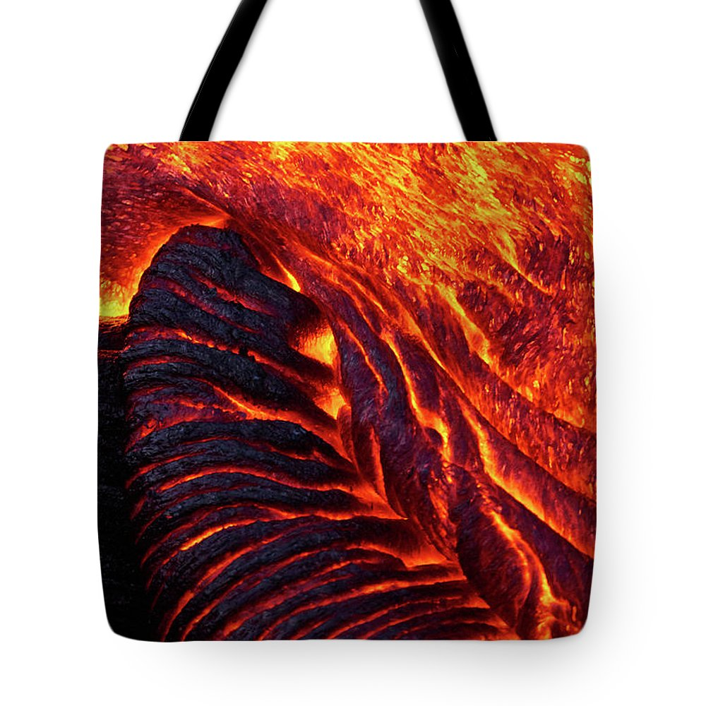Hawaii Tote Bag featuring the photograph Folding Lava by Christopher Johnson