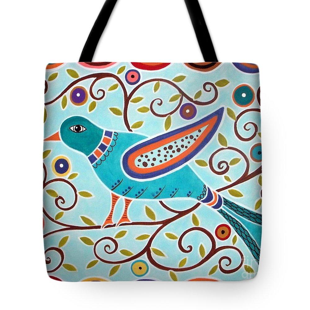 Bird Tote Bag featuring the painting Folk Bird by Karla Gerard