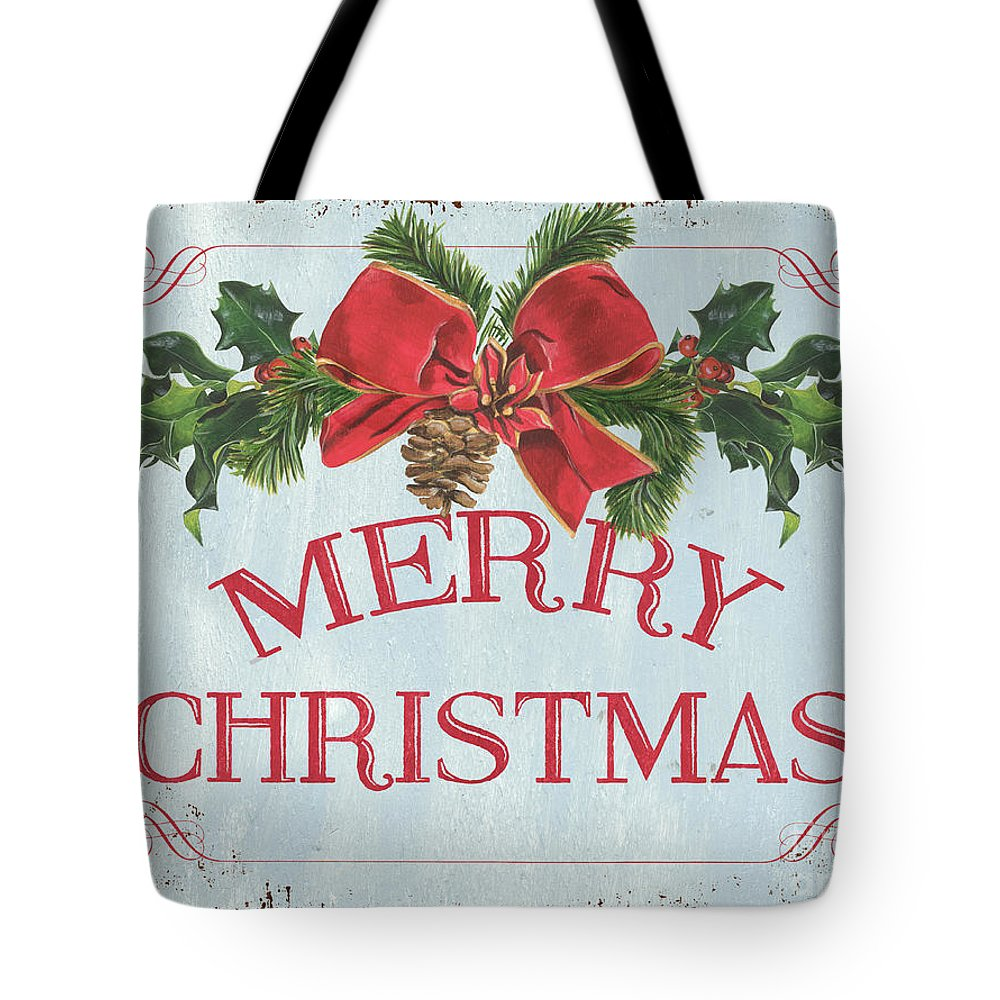Pine Cone Tote Bag featuring the painting Folk Merry Christmas by Debbie DeWitt