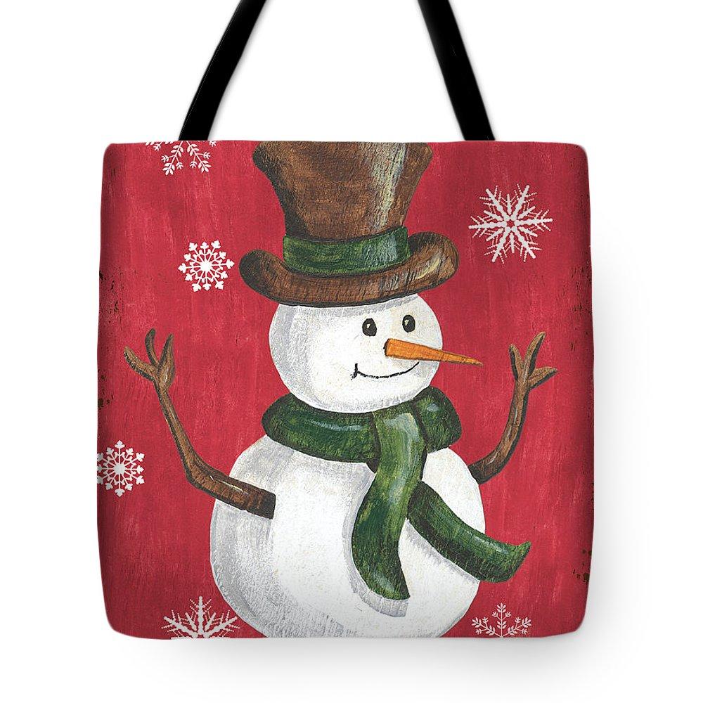 Snowman Tote Bag featuring the painting Folk Snowman by Debbie DeWitt