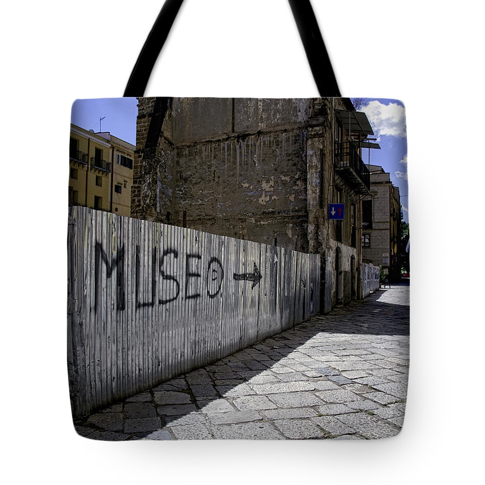 Sicily Tote Bag featuring the photograph Follow The Arrow 1 by Madeline Ellis