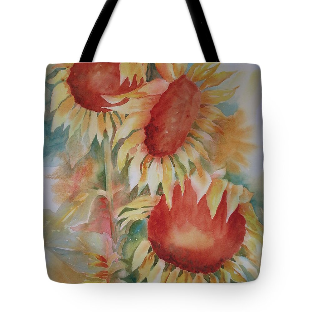 Sunflowers Tote Bag featuring the painting Follow The Sun by Tara Moorman