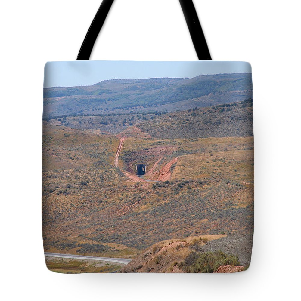 Pat Turner Tote Bag featuring the photograph Follow The Tracks by Pat Turner