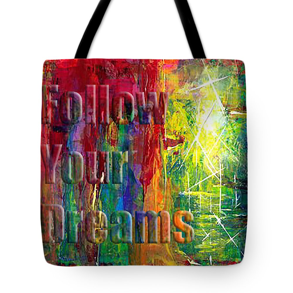 Greeting Cards Tote Bag featuring the painting Follow Your Dreams Embossed by Thomas Lupari