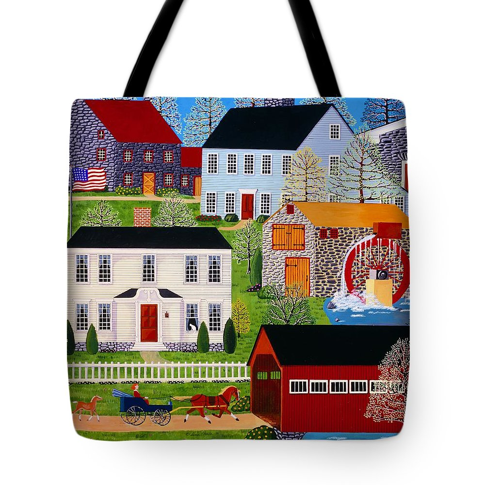 Landscape Tote Bag featuring the painting Followin' Mama by Susan Henke