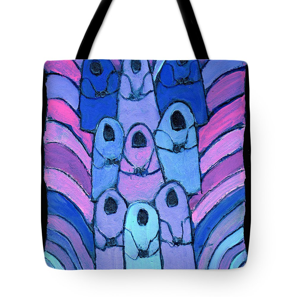 Abstract Tote Bag featuring the painting Following In The Footsteps by Wayne Potrafka