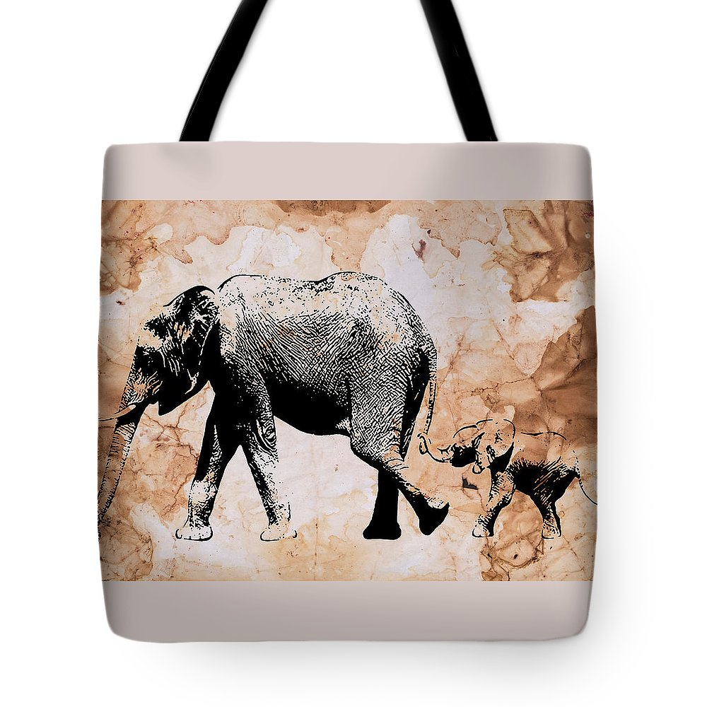 Elephant Tote Bag featuring the painting Following Mum - Mother And Baby Elephant Animal Decorative Poster 4 - By Diana Van by Diana Van