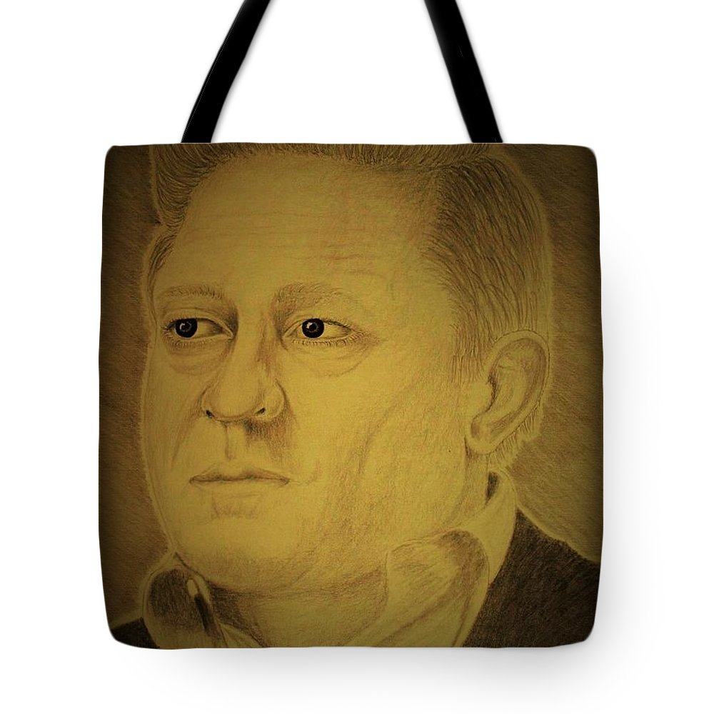 Portrait Tote Bag featuring the drawing Folsome City Blues by Aaron Rupe
