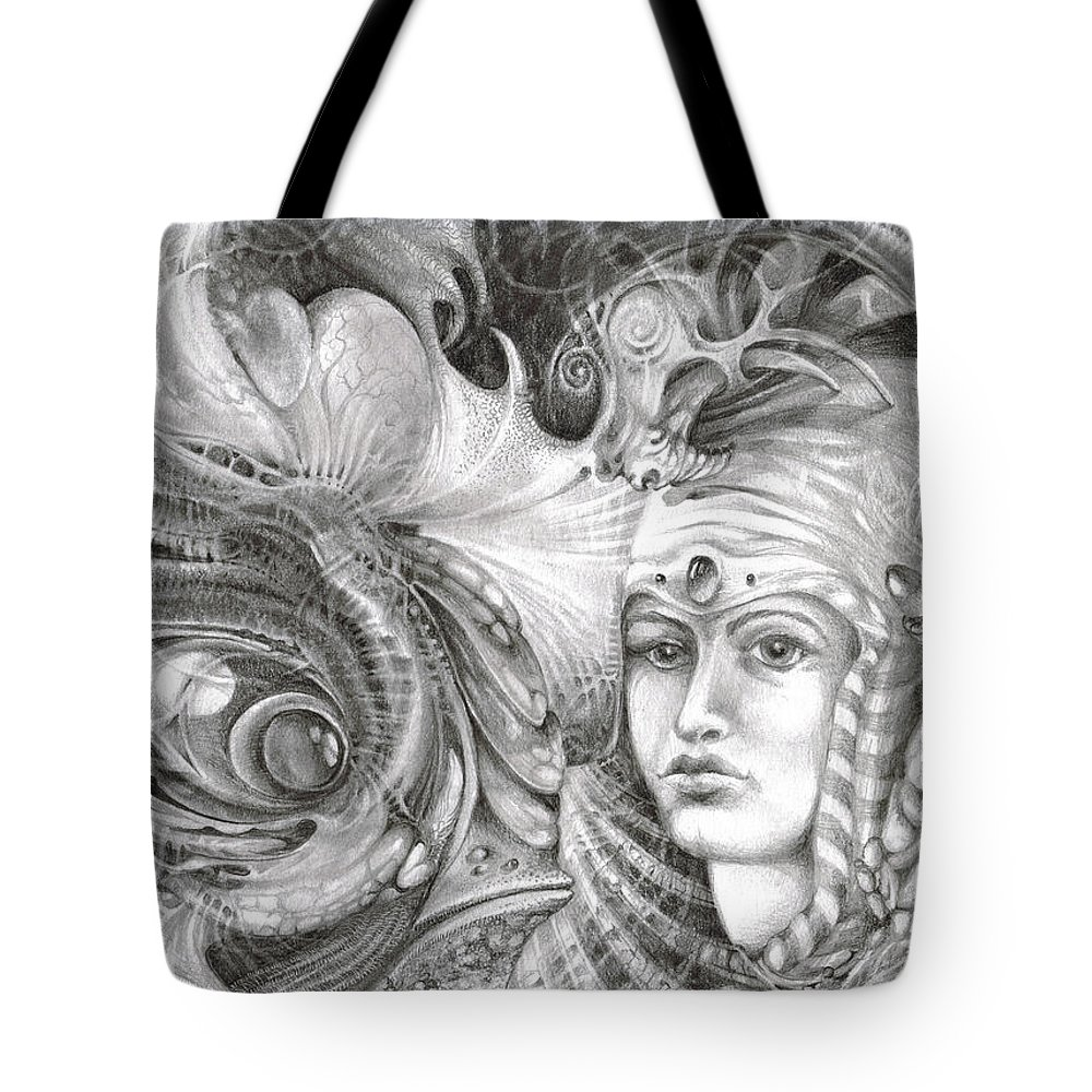 otto Rapp Tote Bag featuring the drawing Fomorii King And Queen by Otto Rapp