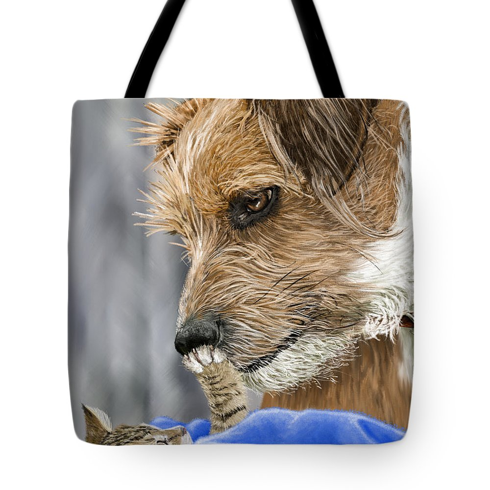 Dog Tote Bag featuring the painting Friends of Norfolk Animal Care Center by Myke Irving