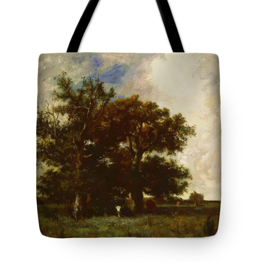 Fontainebleau Tote Bag featuring the painting Fontainebleau Oaks 1840 by Dupre Jules