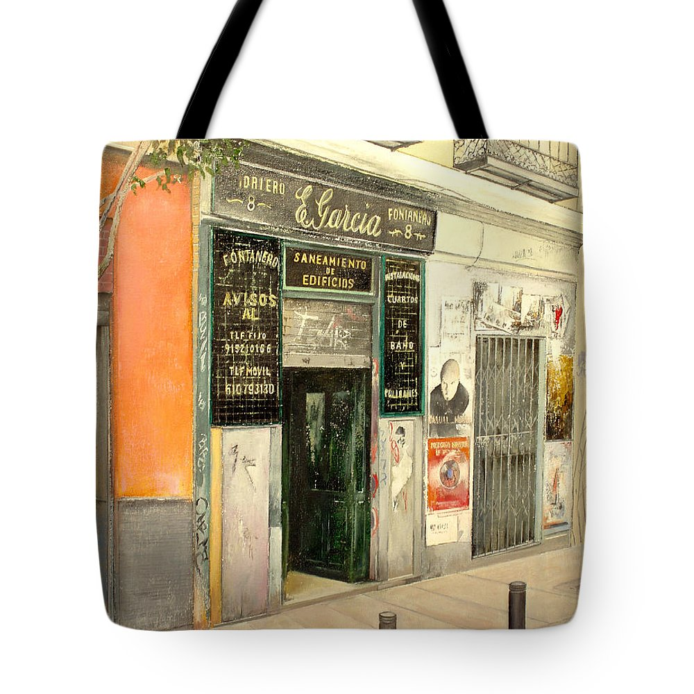 Streetscene Tote Bag featuring the painting Fontaneria E.garcia by Tomas Castano