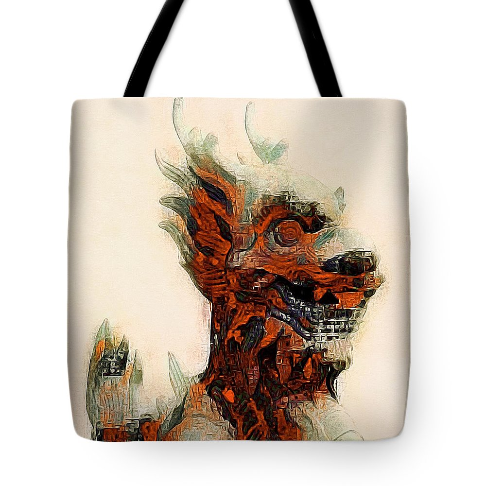 Foo Dog Tote Bag featuring the photograph Foo Dog by Susan Maxwell Schmidt